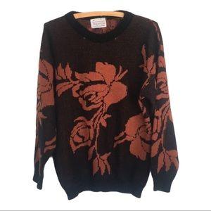 🍋 HOT Vintage 80s Sweater Black & Brown Roses